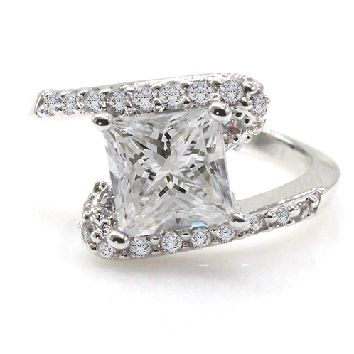 1 carat Bypass Princess Cut Moissanite Engagement Ring