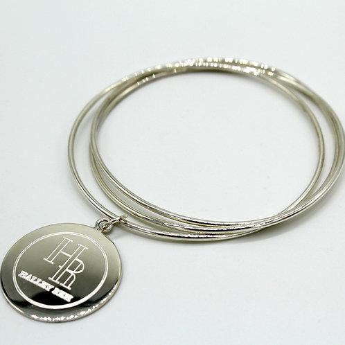 Halley Reh Monogrammed Stacking Bangle Bracelet in .925 Solid Sterling Silver