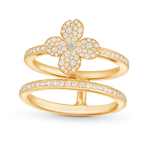 Gienah Studded Single Bloom with Double Band Moissanite Statement Ring