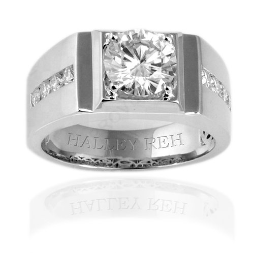 2.52 carat Bezel Set Round Brilliant Cut Moissanite Men's Wedding Ring