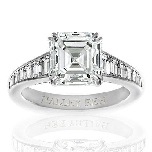 6.05ct Asscher Cut Multi-Stone Moissanite Engagement Ring