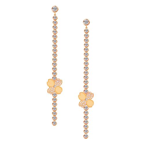 Gienah Long Linear Single Bloom Dangle Moissanite Earring