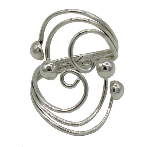 .925 Solid Sterling Silver Beaded Swirl Statement Ring