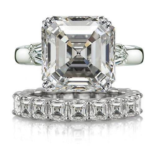 Asscher Cut Moissanite Wedding Band and Engagement Ring
