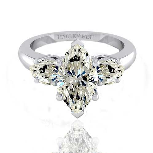 5.63ct DEW Marquise Radiant Cut Engagement Ring with Trillion Cut Accent Stones