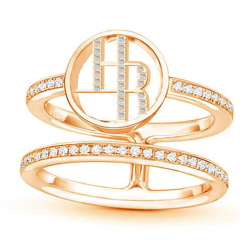 Halley Reh Monogram Double Band Moissanite Statement Ring