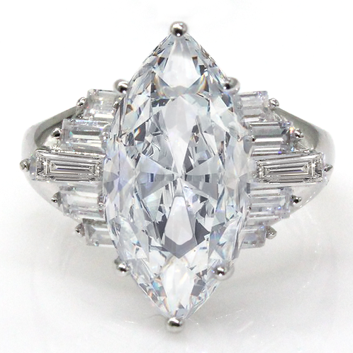 2 carat Marquise Cut Moissanite Engagement Ring with Long Baguette Accent Stones
