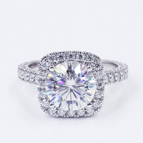 3.16ct Round Brilliant Cut Moissanite  Engagement Ring with Square Halo