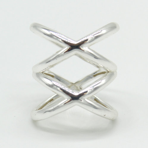 Crisscross .925 Solid Sterling Silver Statement Ring