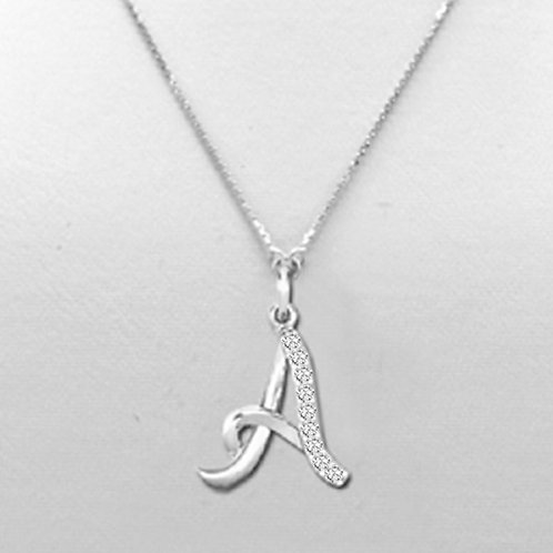 1ct DEW Moissanite Encrusted Initial Pendant Set in .925 Solid Sterling Silver