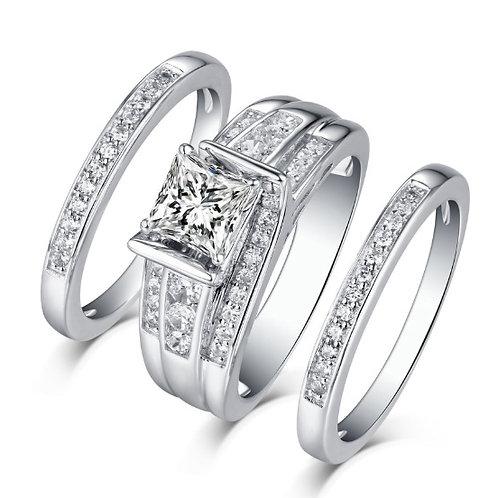 Contemporary Moissanite Princess Cut Engagement and Wedding Band Set