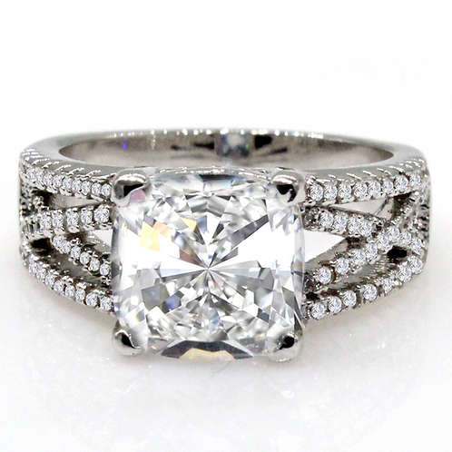 Vintage Cushion Cut Moissanite Engagement Ring Sample