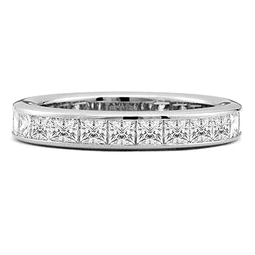 1.58 carat Channel-Set Princess Cut Eternity Band in Solid 14k White Gold