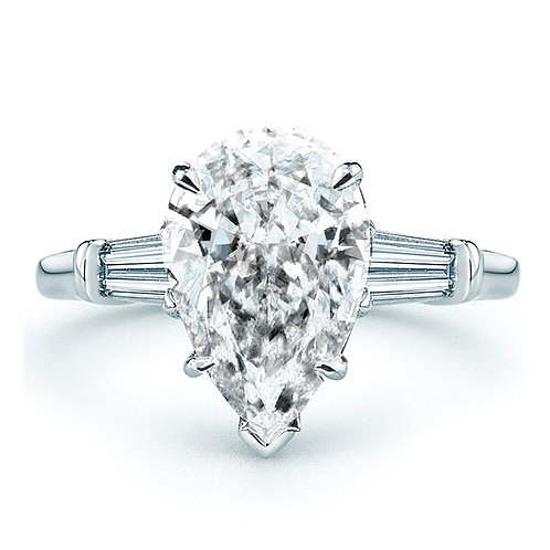 8ct Moissanite Pear Engagement Ring with Tapered Baguette Accent Stones