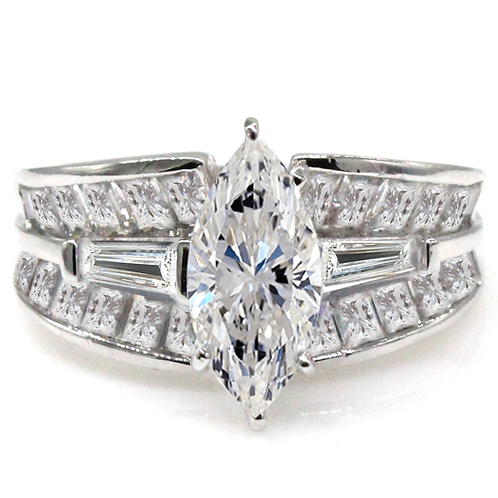 1 carat Marquise Cut Moissanite Engagement Ring with Accent Stones