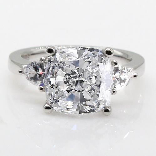 2 carat SquareCushion Cut Moissanite Engagement Ring with Trillion Accent Stones