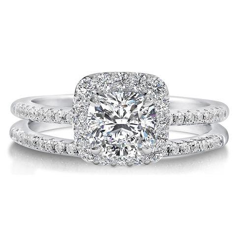 Round Brilliant Cut Engagement Ring and Thin Eternity Wedding Band Set