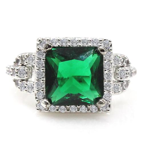 Halo Set Square Radiant Cut Green Moissanite Engagement Ring Sample
