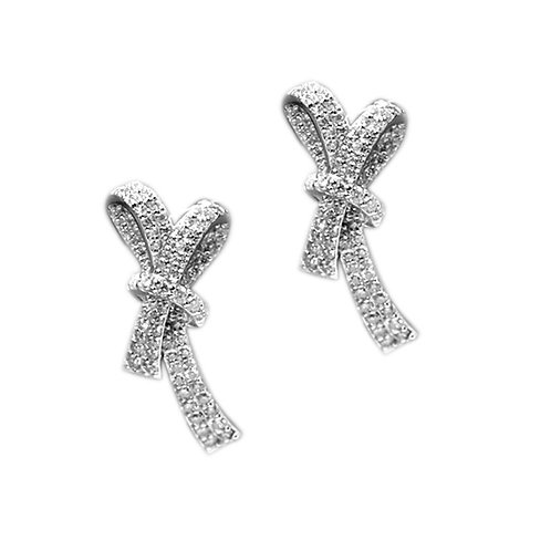 1.50ct DEW Moissanite Micropave Ribbon Twist Earrings Set in .925 Solid Sterling