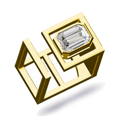 Faye Square Statement Ring 2.50ct Emerald cut Moissanite EF/VVS1
