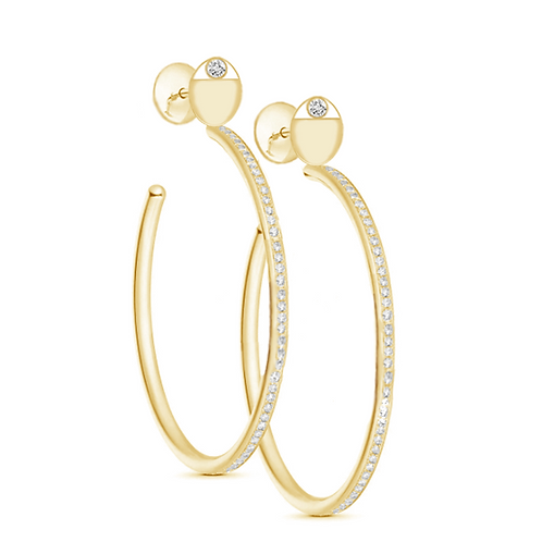 Aegis Studded Accent Hoop Moissanite  Earring