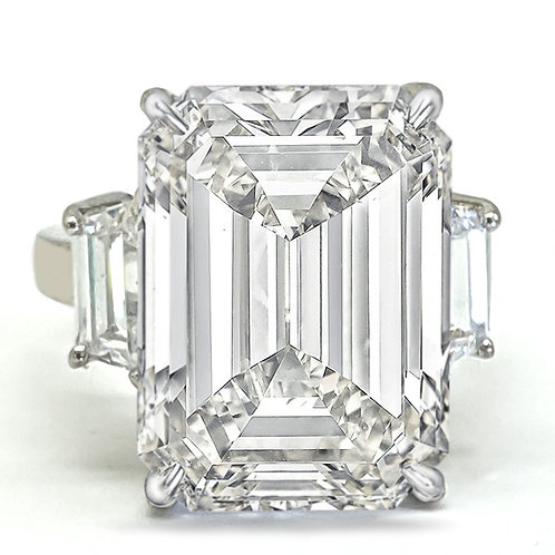 Emerald Cut Moissanite Ring with Trapezoid Accent Stones Sample Ring