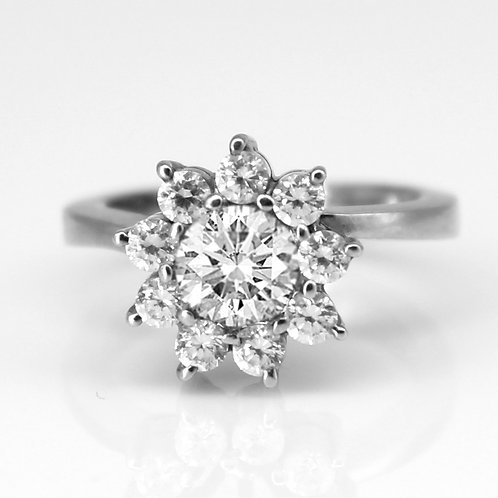 2.60ct DEW Hearts and Arrows Cut Shared-Prong Halo Engagement Ring