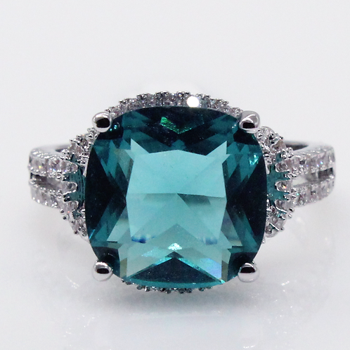 Micropave Cushion Cut Blue-Green Moissanite Engagement Ring Sample