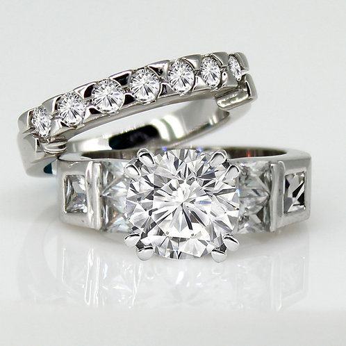 Moissanite Eternity Wedding Band and Engagement Ring Set
