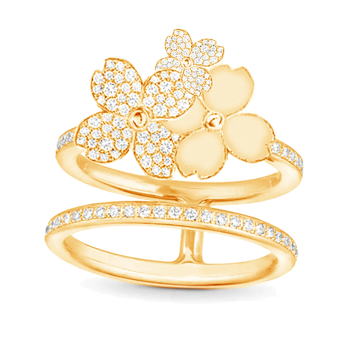Gienah Studded Cluster with Double Band Moissanite Statement Ring