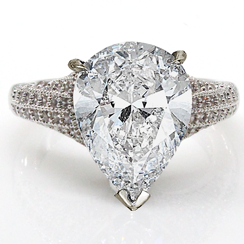 1 carart Pear Cut Solitaire Moissanite Engagement Ring with Micropave  Shank