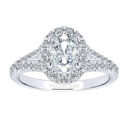 Split Shank Oval Brilliant Cut Halo Engagement Ring Sample