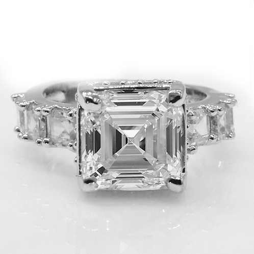Asscher Cut Moissanite Engagement ring with Asscher Accent Stones