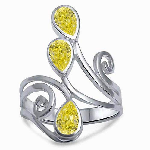 3 carat DEW Modern Pear Cut Three Stone Moissanite Statement Ring