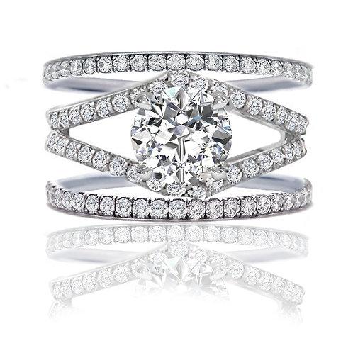 3.5 carat DEW Pave Set Crisscross Engagement Ring