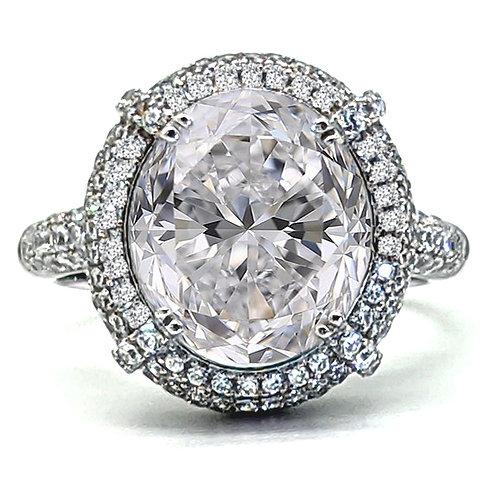 Vintage Oval Cut Halo Engagement Ring Sample