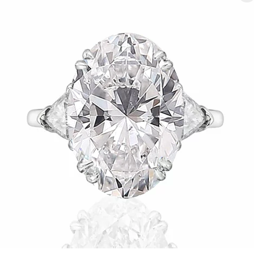 12.60ct  Oval Brilliant Cut Engagement Ring with Trillion Side Stones
