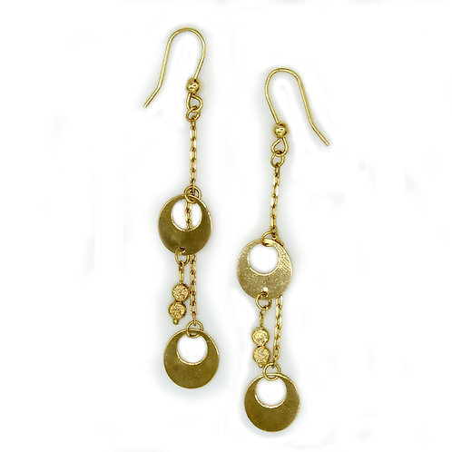 14k Solid Yellow Gold Round Chandelier Earrings