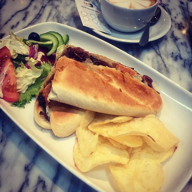 Goat Cheese Panini with caramelised red onion 😋 yummy _leocafe