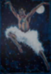menace of the swan lake ballet night oil painting