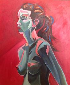 Foxy lady superhero nude portrait oil painting