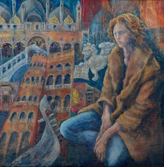 oil painting and mixed media portrait fallen angel in venice