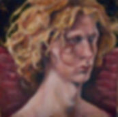 oil painting and mixed media fallen angel portrait