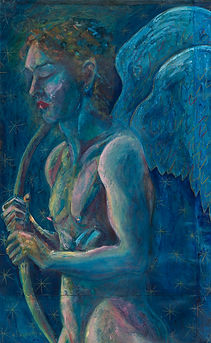Fallen angel with wings blue oil painting