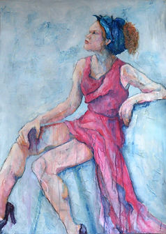 Mixed media and acrylic painting girl in pink dress