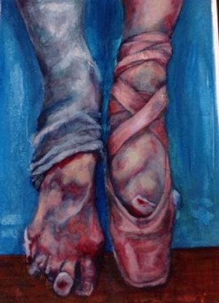 sore bandaged ballet feet oil painting