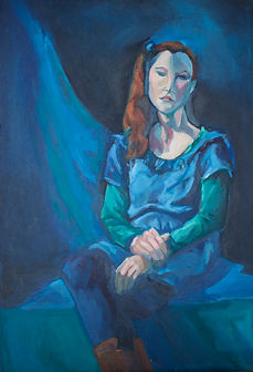 blue and green female portrait oil painting