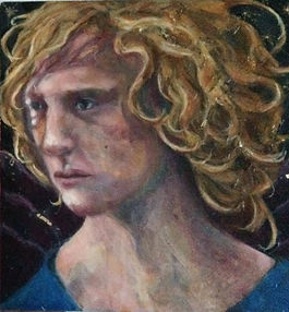 mixed media oil painting fallen angel portrait