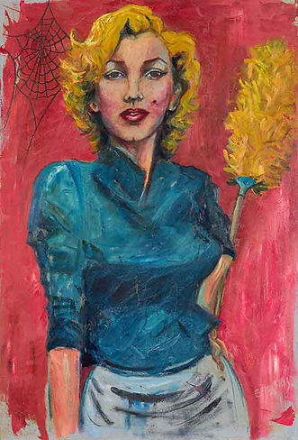 Marilyn monroe tackles housework cobwebs oil painting