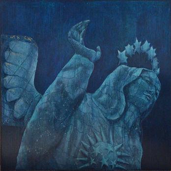 Peru madonna angel statue oil painting